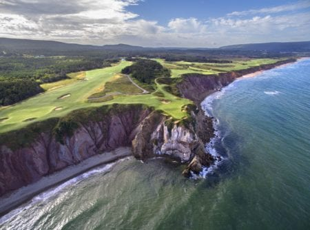 This image of the spectacular 16th Hole at Cabot Cliffs was taken with an Inspire1 drone.  Cabot Cliffs was designed by Ben Crenshaw and Bill Coore and showcases some of the most spectacular views of any course worldwide.