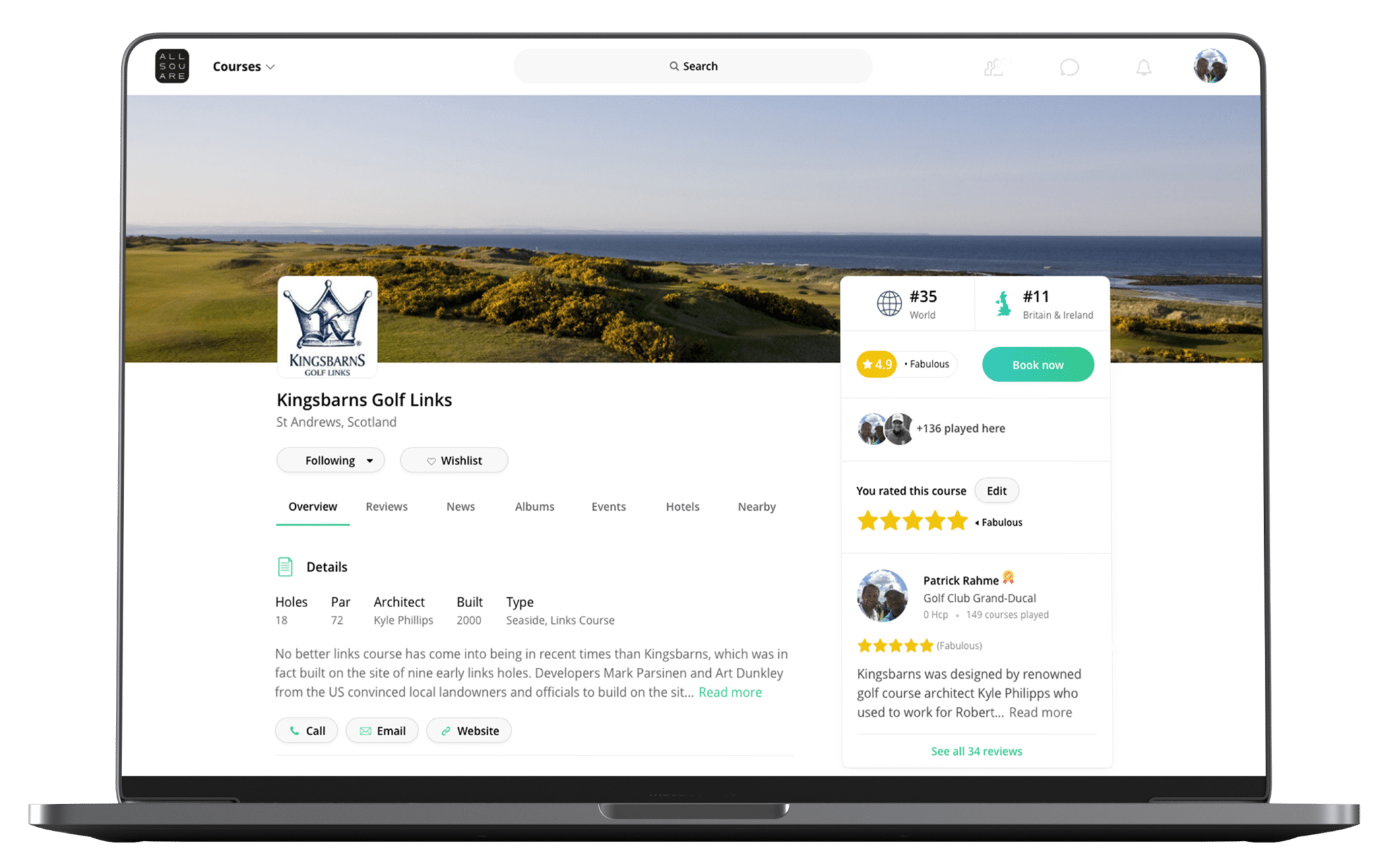 Website Golf Course Profile