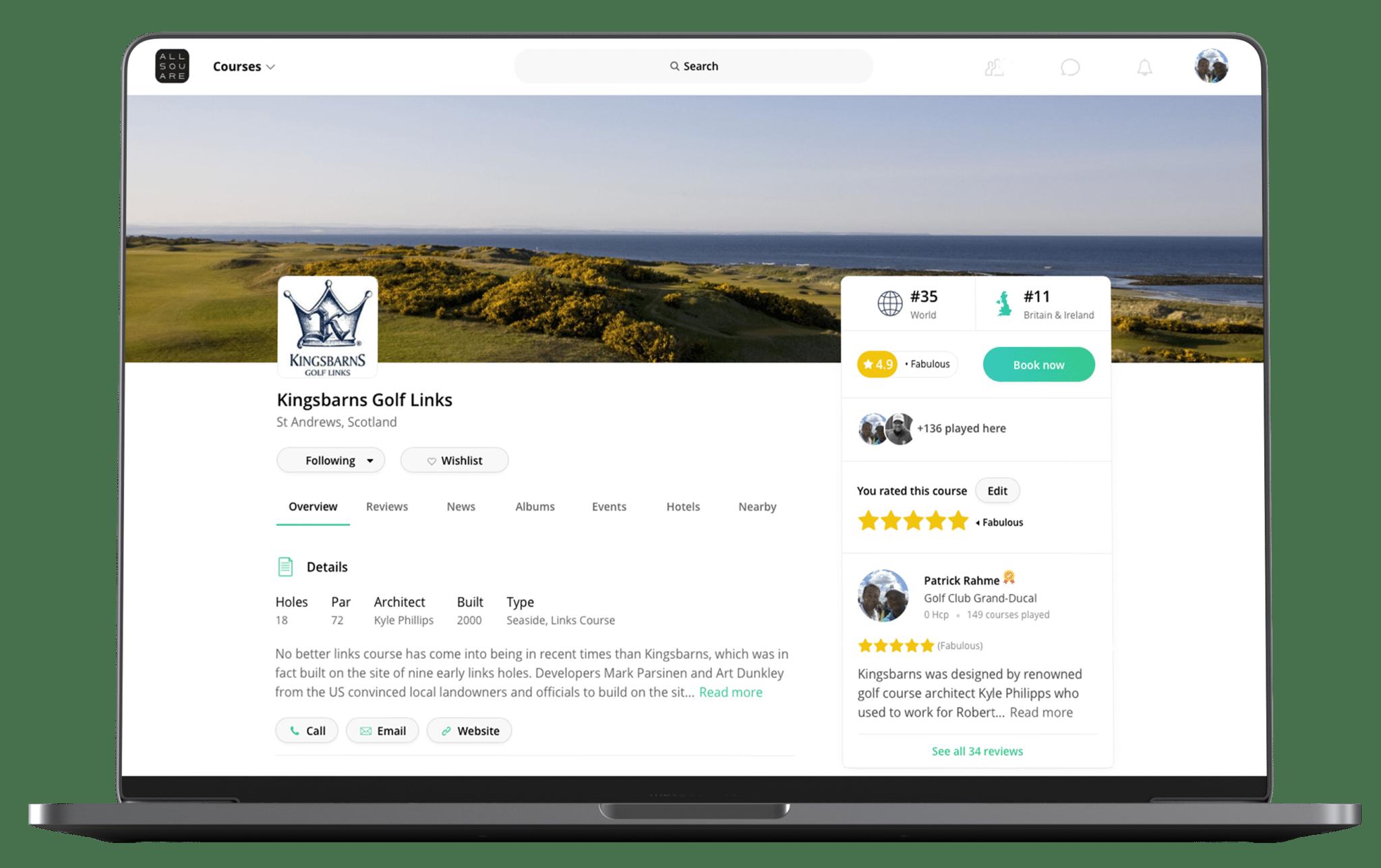 Website Golf Course Profile