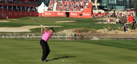 ABU DHABI, UNITED ARAB EMIRATES - JANUARY 28:  Sergio Garcia of Spain plays his second shot at the par 5, 18th hole during the third round of the Abu Dhabi HSBC Championship at the Abu Dhabi Golf Club on January 28, 2012 in Abu Dhabi, United Arab Emirates.  (Photo by David Cannon/Getty Images)