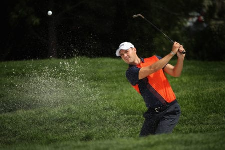 RENO, NEVADA - JULY 26: Martin Kaymer of Germany chips from the bunker onto the first green during the second round of the Barracuda Championship at Montreux Country Club on July 26, 2019 in Reno, Nevada. on July 26, 2019 in Reno, Nevada. (Photo by Christian Petersen/Getty Images)